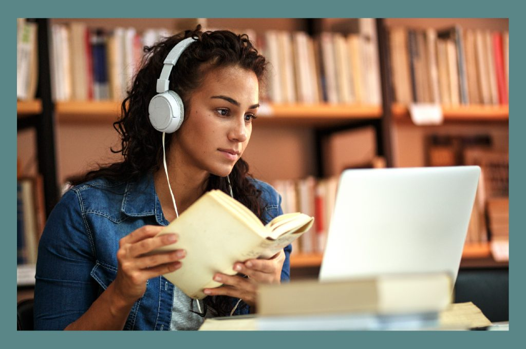 Bordered Girl Studying in Library